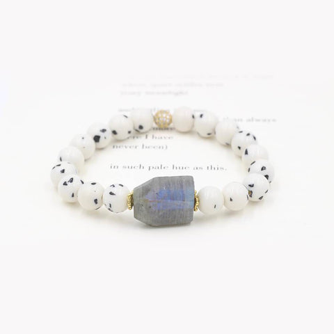Susan Balaban Designed Healing Bracelet - This white and gray healing yoga bracelets is made of jade and labradorite for protection and centering.