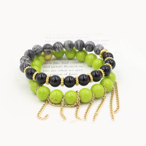 Susan Balaban Designed Healing Bracelet - These green and black healing yoga bracelets for restoration and relaxation, letting go.