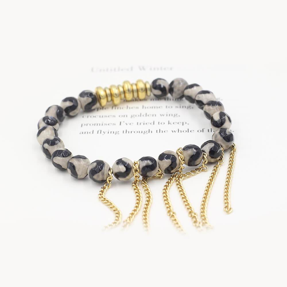 Susan Balaban Designed Healing Bracelet - This black and white healing yoga bracelet is made of tibetan agate for transformation and courage.