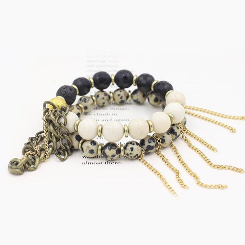 Susan Balaban Designed Healing Bracelet - These black and cream bracelets for loving the journey, embracing the experiences.