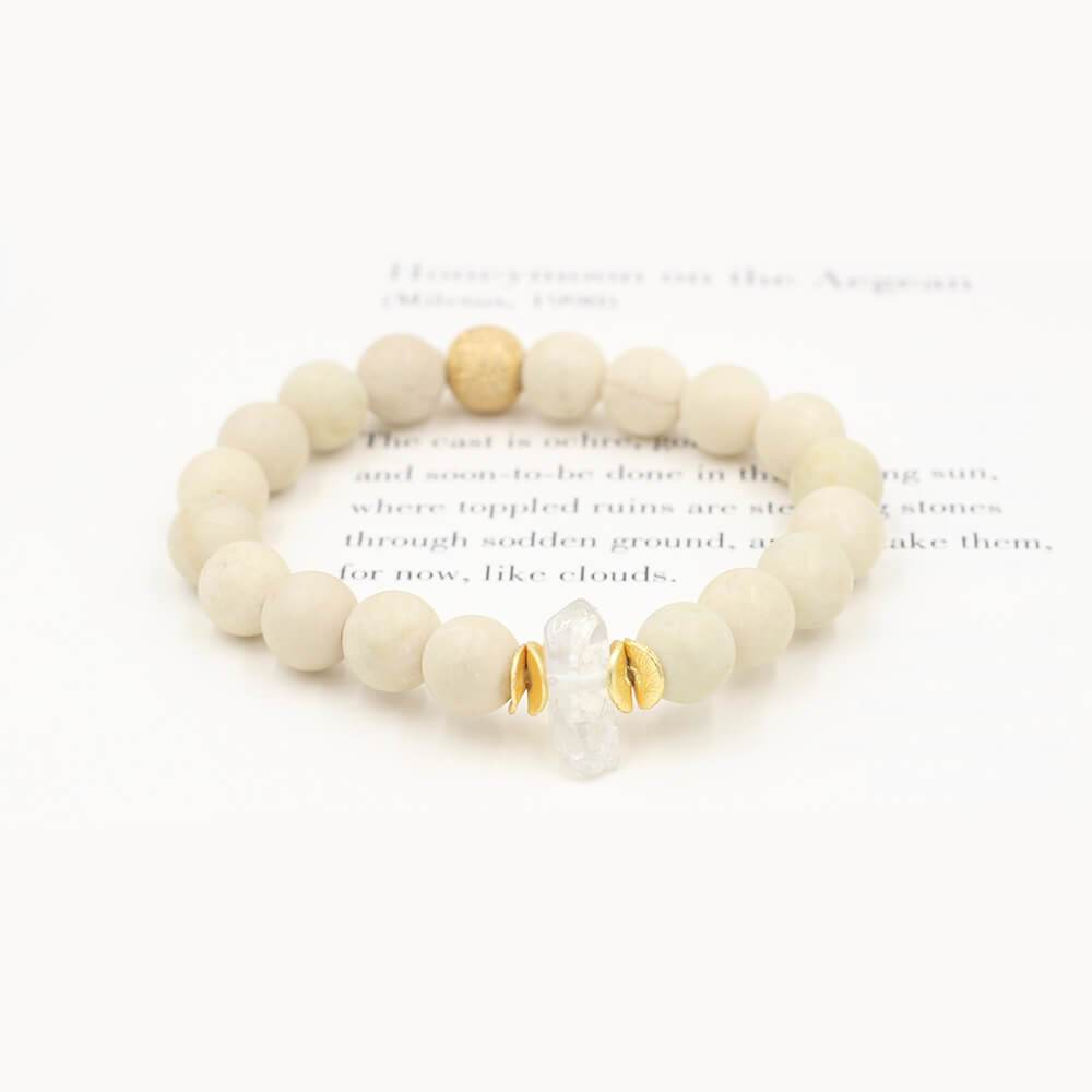 Susan Balaban Designed Healing Bracelet - This cream healing yoga bracelet with crystal is for calm, insight, meditation.
