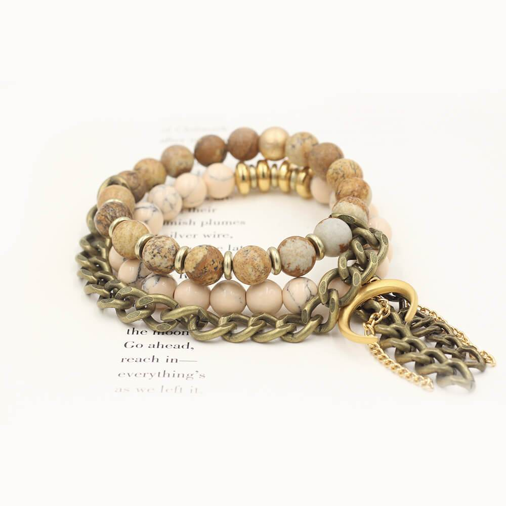 Susan Balaban Designed Healing Bracelet - These pink healing yoga bracelets made of magnesite and jasper for living an adventurous, heartfelt and audacious life.