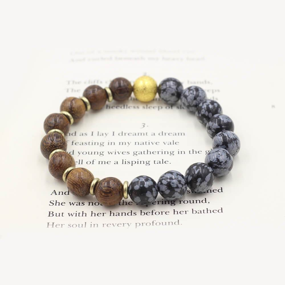 Susan Balaban Designed Healing Bracelet - This black snowflake obsidian and wood healing yoga bracelet helps you stay centered and clear.