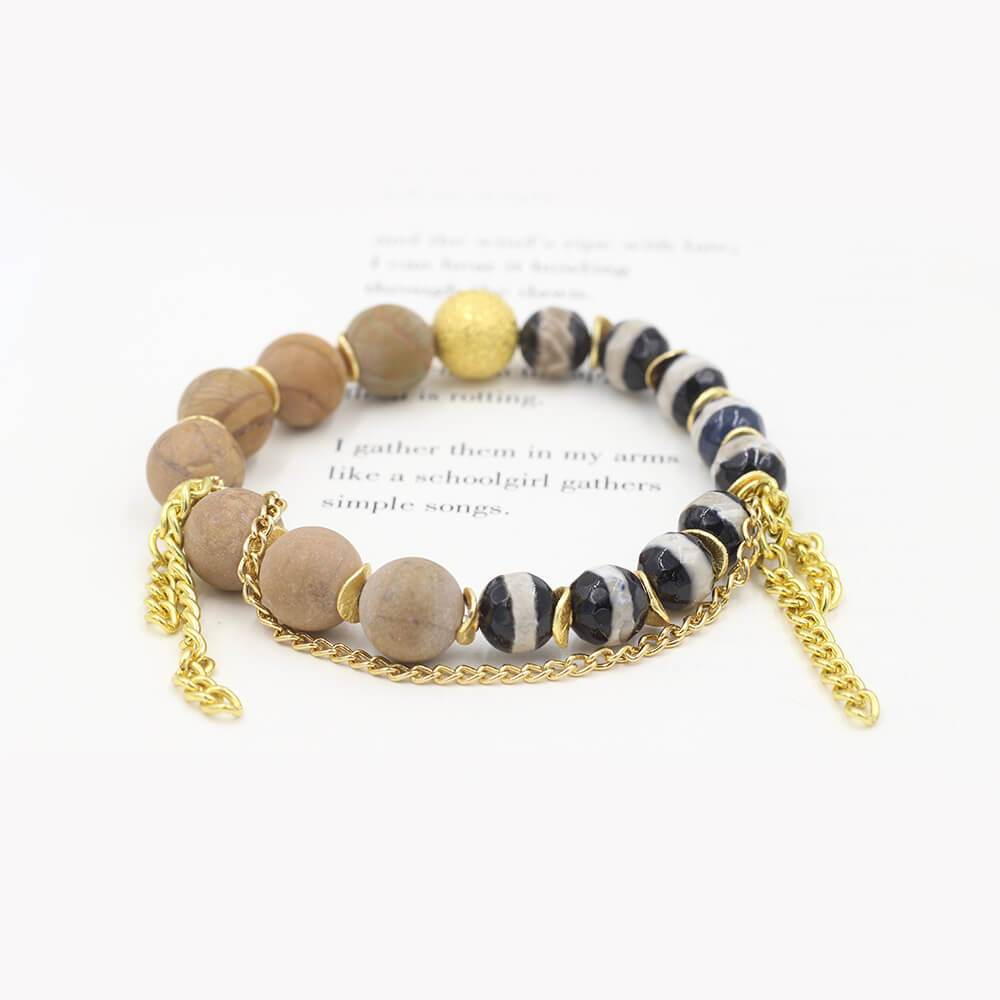 Susan Balaban Designed Healing Bracelet - This brown healing yoga bracelet features matte and tibetan agate for courage and healing.