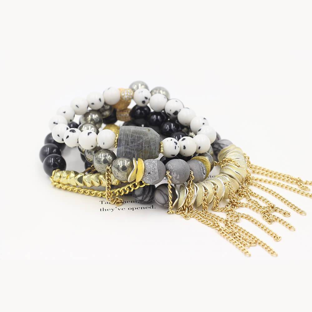 Susan Balaban Designed Healing Bracelet - These gold and gray bracelets are made of druzy, pyrite, jade, labradorite and silkstone for self-knowledge & mastery.