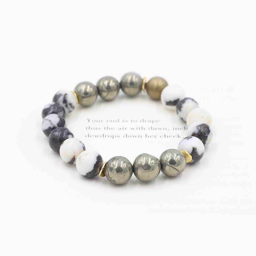 Susan Balaban Designed Healing Bracelet - This black and white healing yoga bracelet is made of zebra jasper and pyrite for balance and centering.