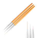3Pcs/set Gold Nail Art Lines Painting Pen Brush Professional High Quality-HappyPandaBags