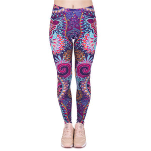 Autumn Legging Red Blue and Purple-HappyPandaBags