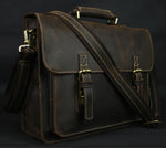Vintage Crazy Horse Leather Men's Briefcase Laptop Bag-HappyPandaBags