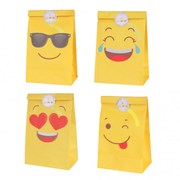 LOTE DE 12/36 BOLSAS DE PAPEL EMOTICONOS PARTY.LLénalas de galletas,bombones,chuches - second-pair