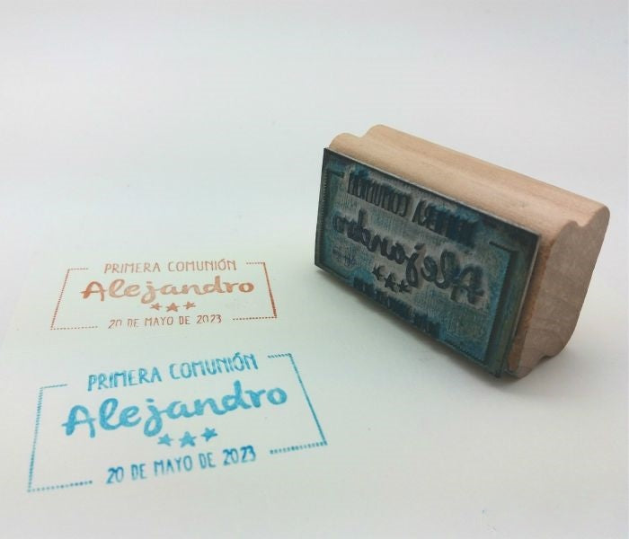 Sello personalizado rectangular para Comunión Estrellitas 3x5,5 cm. - second-pair