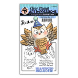 Art Impressions clear acrylic stamps & metal dies - Owl Flutter set