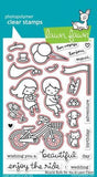 Lawn Fawn clear acrylic stamp set & metal dies - Bicycle Built For You , Made in USA
