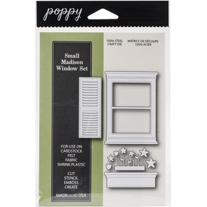 Poppy Stamps Small Madison Window Set thin metal dies, Made in USA