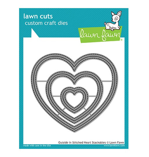 Lawn Fawn thin metal dies - Outside in Stitched Heart Stackables , Made in USA