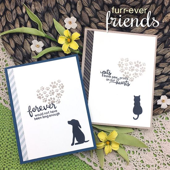 Newton's Nook clear acrylic stamp set & metal dies - Furr-ever Friends, Made in USA