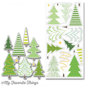 My Favorite Things clear acrylic stamps & metal dies- Oh Christmas Trees, Made in USA