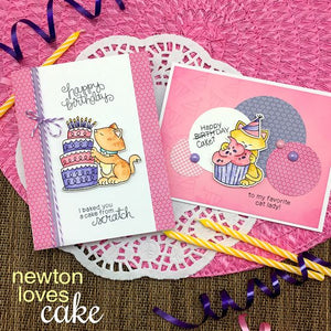 Newton's Nook clear acrylic stamp set & metal dies - Newton Loves Cake, Made in USA