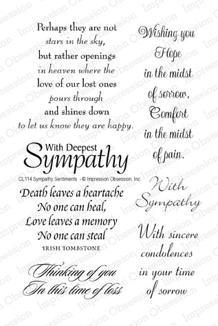 Impression Obsession Sympathy Sentiments clear acrylic stamp set, Made in USA