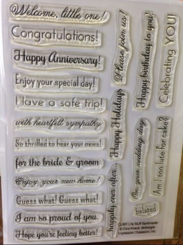 Impression Obsession Life Stuff Sentiments clear acrylic stamp set, Made in USA