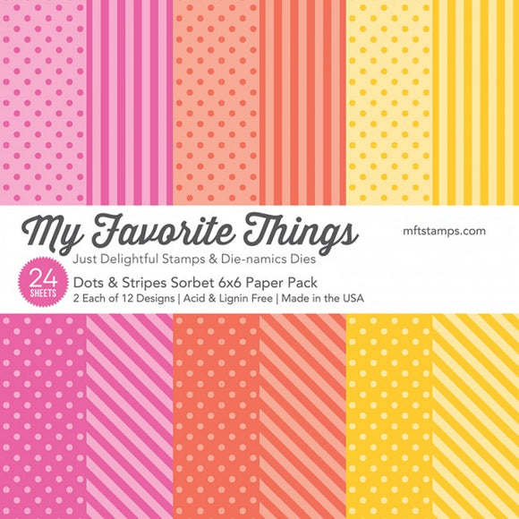 My Favorite Things 6x6 paper pad- Dots & Stripes Sorbet