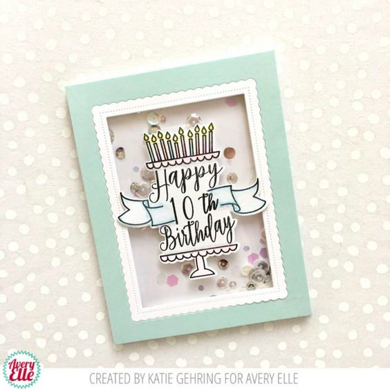 Avery Elle clear acrylic stamps & thin metal dies - Time to Party, Made in USA