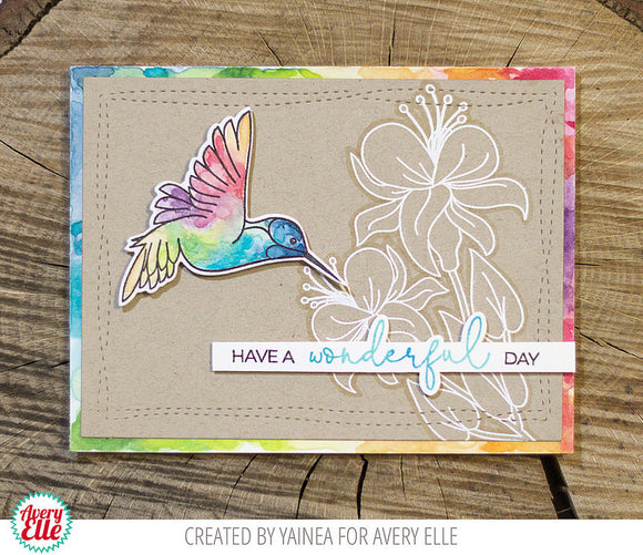 Avery Elle clear acrylic stamps & thin metal dies - Hummingbird, Made in USA