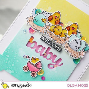 Heffy Doodle clear acrylic stamps & thin metal dies - Eggcellent News, Made in USA