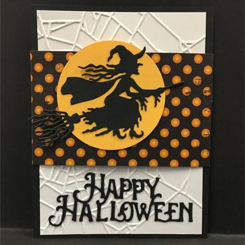 Impression Obsession Witch Flying thin metal die, Made in USA