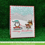 Lawn Fawn clear acrylic stamp set & metal dies - Toboggan Together , Made in USA