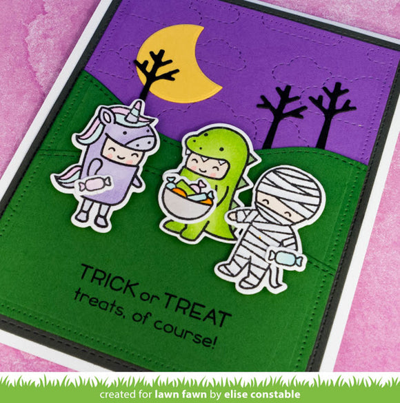 Lawn Fawn clear acrylic stamp set & metal dies - Costume Party , Made in USA
