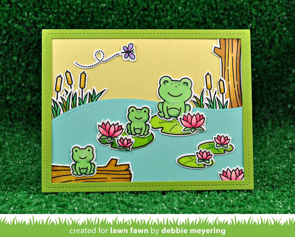Lawn Fawn clear acrylic stamp set & metal dies - Toadally Awesome, Made in USA