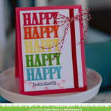 Lawn Fawn clear acrylic stamp set & metal dies - Happy, Happy, Happy , Made in USA