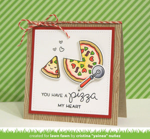 Lawn Fawn clear acrylic stamp set & metal dies - Pizza My Heart , Made in USA