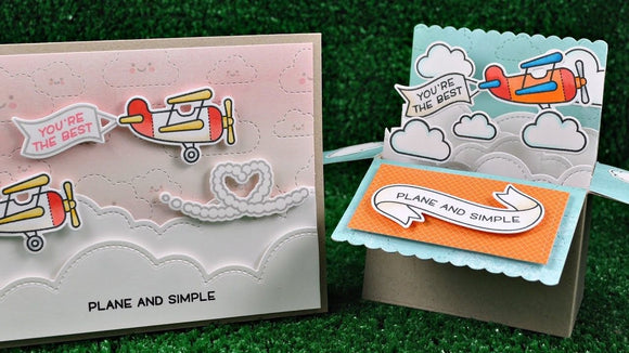 Lawn Fawn clear acrylic stamp set & metal dies - Plane & Simple , Made in USA