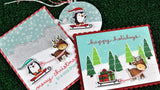Lawn Fawn clear acrylic stamp set  - Toboggan Together , Made in USA