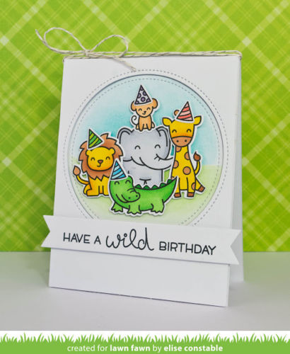 Lawn Fawn clear acrylic stamp set & metal dies - Wild for You , Made in USA