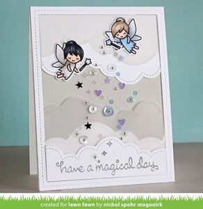 Lawn Fawn clear acrylic stamp set & metal dies - Fairy Friends , Made in USA
