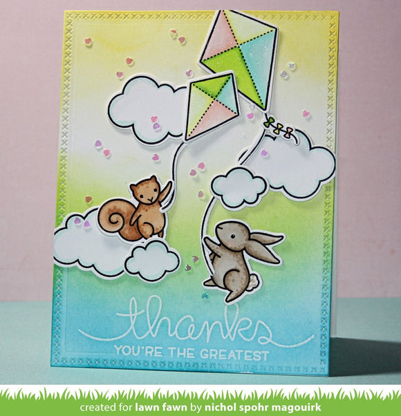 Lawn Fawn clear acrylic stamp set & metal dies - Yay, Kites! , Made in USA