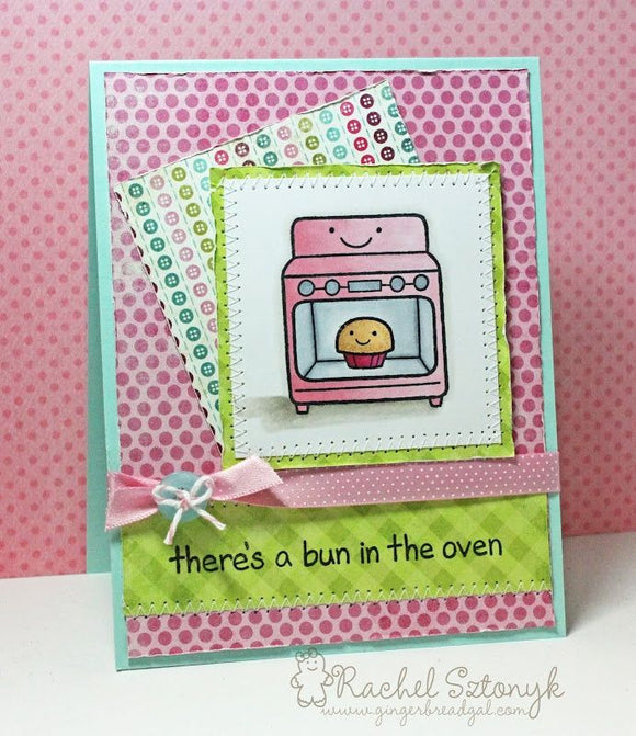 Lawn Fawn clear acrylic stamp set & metal dies - Bun in the Oven , Made in USA