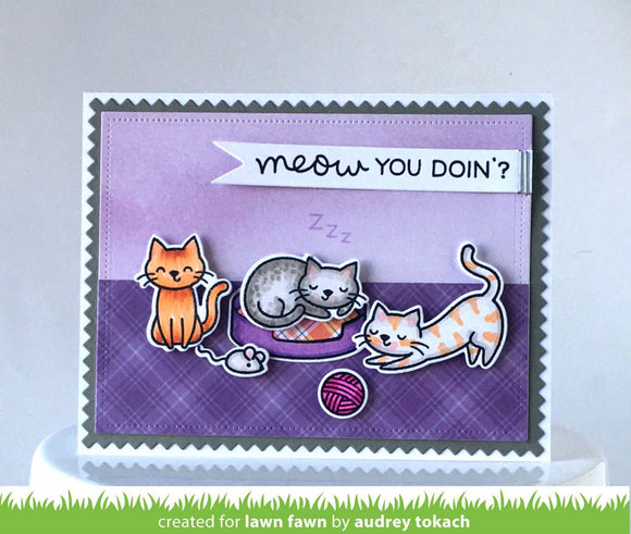 Lawn Fawn clear acrylic stamp set - Meow You Doin'? , Made in USA