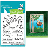 Lawn Fawn clear acrylic stamp set - Hang in There, sloth, Made in USA