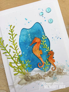 Memory Box Swimming Seahorses thin metal die, Made in USA