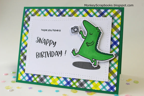 Heffy Doodle clear acrylic stamps & thin metal dies - Happy Snappy Crocs, Made in USA