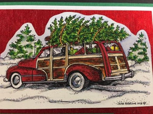 Northwoods cling mounted rubber stamps - STATION WAGON, CANDLE & CANDY CANE