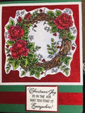 Northwoods cling mounted rubber stamps - ROSE WREATH & MUM, Christmas