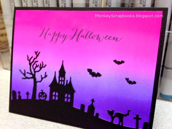 Impression Obsession Halloween Hill thin metal die, Made in USA