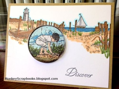 Impression Obsession Path to the Beach cling mounted rubber stamp, Made in USA