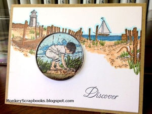 Impression Obsession Beachcomber cling mounted rubber stamp, Made in USA