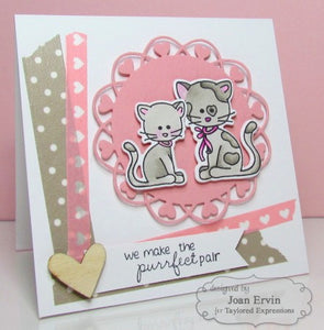 Taylored Expressions cling rubber stamps & thin metal dies - Max & Muffin, Made in USA